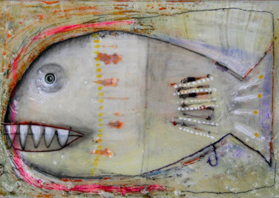 Rachel Bliss, Philadelphia, PA - Blue Eyed Fishbear, 2012. Oil, acrylic, graphite on masonite, $410
