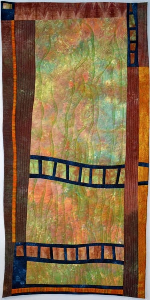 Green Fields & Golden Sands, 2011. $3,195. Dimensions: 57h x 28w (inches). Hand-dyed cotton, hand-dyed threads, hand and machine embellished.