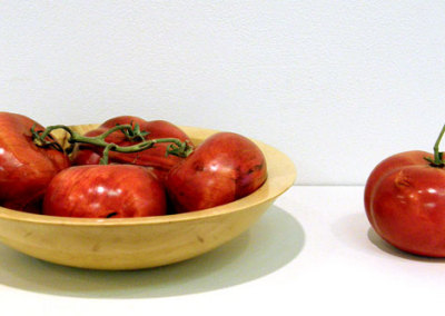 Tomatoes in a Maple Bowl: Dale Lowe, 2011 - Birch, analine dye, polyurethane finish, tomato vine, maple; Turned, carved. $285