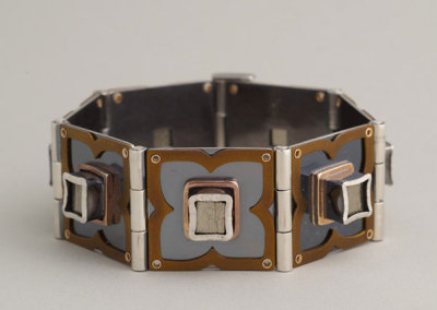 Melody Armstrong, Hinged Pyrite Cube Bracelet - sterling silver, 14 k yellow gold, iron pyrite, anodized titanium, patina; hand fabricated hinges, soldering, hammer setting, riveting