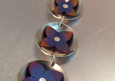 Ti Rivet Flower Necklace: Melody Armstrong, Sterling Silver, Anodized Titanium