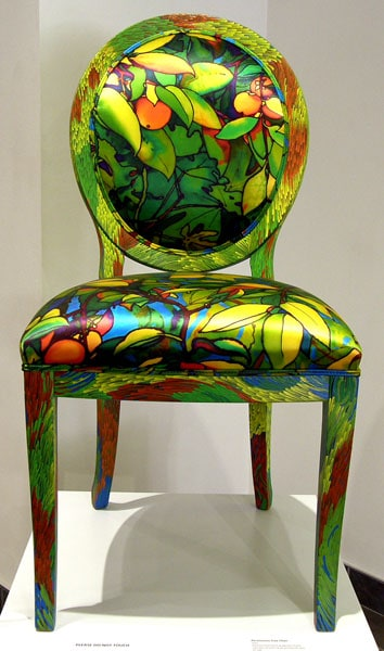 Persimmon Tree Chair, 2011. Hand painted beech wood chair frame upholstered with ink-jet printed silk satin, $2,100.