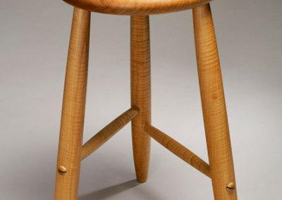 Michael Hosaluk, Stool, 2011 - Curly Maple, Brazilian Rosewood; turned, constructed