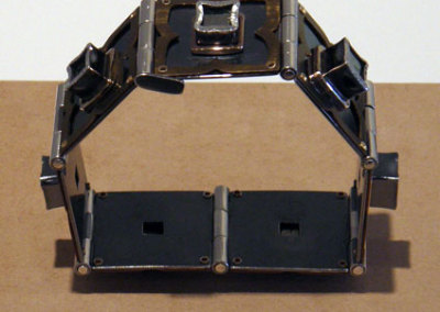 Hinged Pyrite Cube Bracelet, Melody Armstrong, 2011, Sterling silver, 14k yellow gold, iron pyrite, anodized titanium & patina