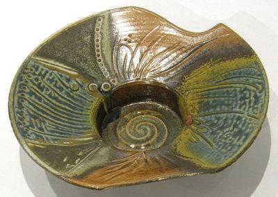 Judy Tryon, Grasslands: Clay, slip, glazes; wheel thrown, cut, carves, stamped, slip trailed, spray glazes, ∆10 reduction. 2013, $150.