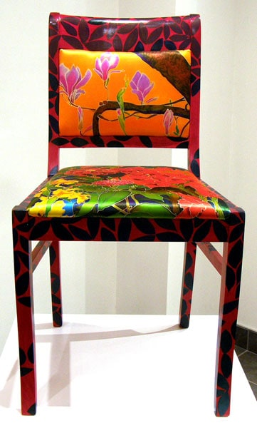 Garden in Orange Sunset Chair, 2011. Hand painted beech wood chair frame upholstered with ink-jet printed silk satin, $2,100.