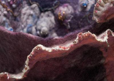 June J. Jacobs, Gems of the Salt Flats, 2011 - wool, silk, Alpaca, yarn, rayon thread, glass beads; hand felting, hand & machine embroidery, hand beading