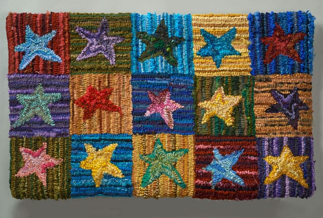 Jean Ottosen: Star Rug, 2012. Hooked rug wall hanging, $700.