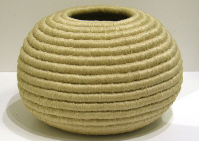 Coiled Linen Vessel (Pat Adams), 1988: Natural colour linen thread; Coiling. $1,600