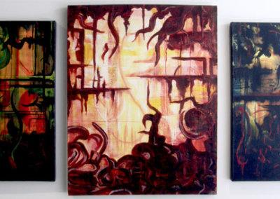 Depression Series: Triptych (Terri-Lynn McDonald) 0: Acrylic on canvas. Collection of The Mann Art Gallery.