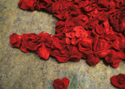 Bed of Roses (detail), 2012: Wool, cotton flannel, cotton fabric, wool fabric, foam stuffing, polyester stuffing, thread; hand felted, machine sewn - $2,000