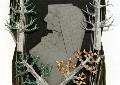 Ba Hung Tran, Family Tree: Metal coated paper, graphite tracing paper, pastel paper, book scraping paper, mat board; folding, twisting, scrumbling. 2013, $400.