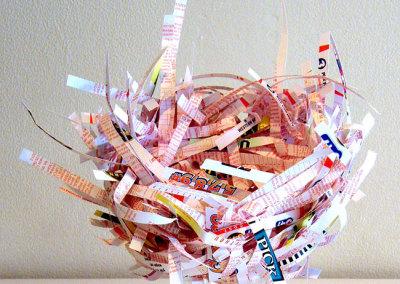Lucky Break, 2011: Lottery ticket purchase stubs, mat board, glue. $75