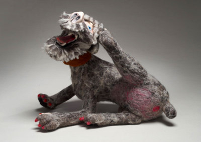 Laura Kinzel, DOG-MA: Laura Gus Hybrid, 2011 - wool, polystuffing, polymer clay, acrylic paint; needle felting, hand modelled clay, painting