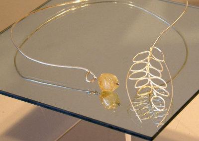 Germination, Gail Daggett, 2010, Sterling silver, 23.5k gold foil & citrine