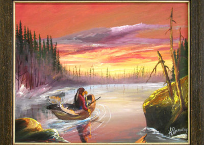 Untitled (Landscape with Canoe) (Henry Beaudry) 0: Oil on canvas. Collection of The Mann Art Gallery.
