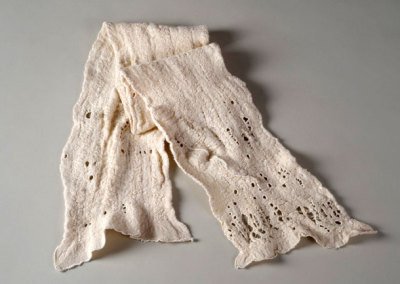 Gwen Klypak, Ivory Scarf, 2011 - Merino wool, silk; hand weaving, wet felting, embroidery