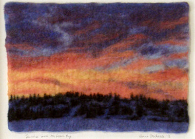 Donna Stockdale, Sunrise on McGibbon Bay: Wool; wet, needle, & hand felted. 2013, NFS.