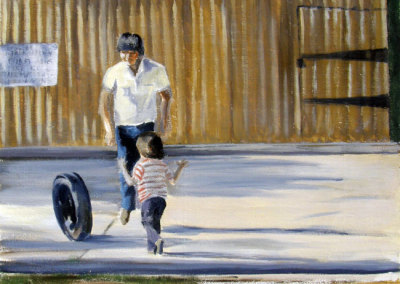 Untitled (Father and Son at Play) (Kathie Bird) 2007: Oil on board. Collection of The Mann Art Gallery.