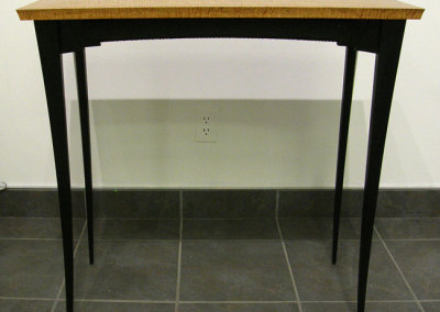 Table (Michael Hosaluk), 2004: Curley maple, ebonized birch, brass; Turned, constructed. Private Collection