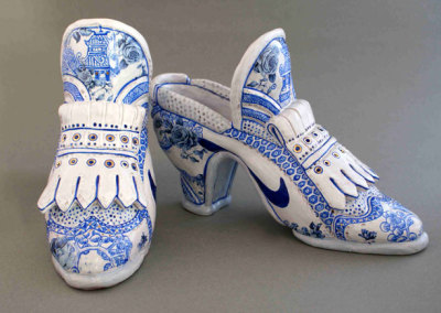 Willow Top Golf Shoes, 2009 - Mariko McCrae - Terra cotta clay, glazes, china paints, gold lustre, $750