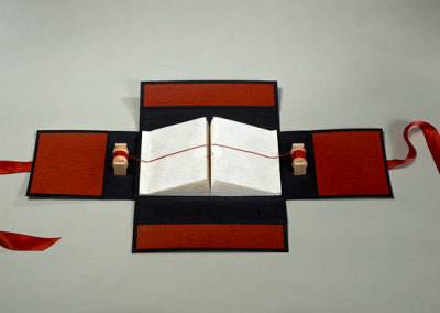 Cathryn Miller and Monique Martin: The Red Thread, 2013. Book in a box (2 halves) with spools and thread, $800.