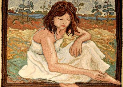 Under September Sky, 2010 - Rachelle LeBlanc - Hand hooked woolen fabric (dyed & cut), linen, $2,500