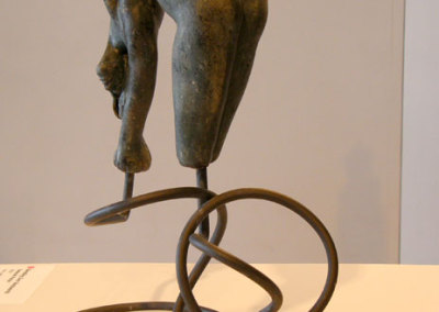 Bending Over Backwards - Deborah Potter (clay, underglaze, and metal stand)