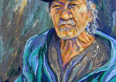 Homeless Series: I Am a Writer, Joseph Merasty (Kathie Bird) 2013: Acrylic on canvas. Collection of The Mann Art Gallery.