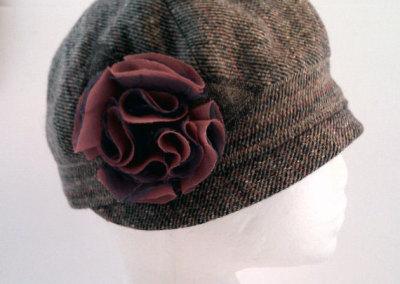 Ladies Cloche Hat - Wool Blend with Flower