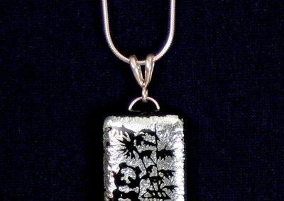 Silver Panda Dichroic Glass Pendant