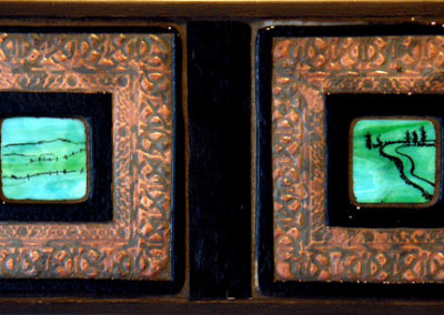 Hoard: Louisa Ferguson, 2011 - Glass, copper, grout, wood; Copper enclusion, glass fusing, mosaic. NFS $300