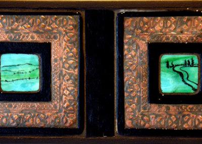 Hoard: Louisa Ferguson, 2011 - Glass, copper, grout, wood; Copper enclusion, glass fusing, mosaic. NFS $300