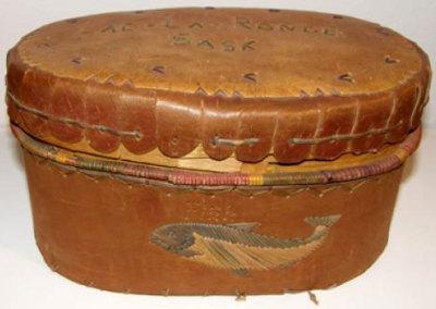 Oval Lidded Birch Basket - Artist Unknown