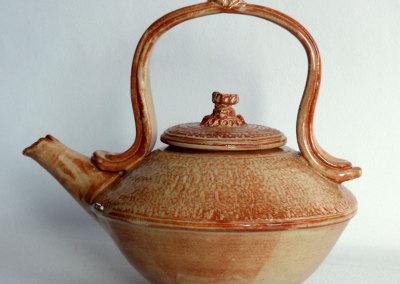 Teapot-wheel thrown and assembled porcelain. Glazed.