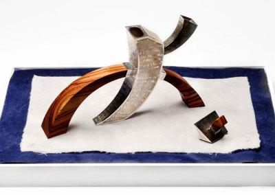 Michael Massie, yacka-tea yack (teapot #82): Sterling silver, tulip wood. 46x31x 26cm, 2009.