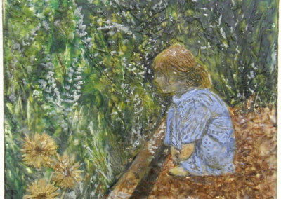 Janice Schiman, Contemplation: Encaustic, found objects, photocopy, oil paint. 2012, NFS.