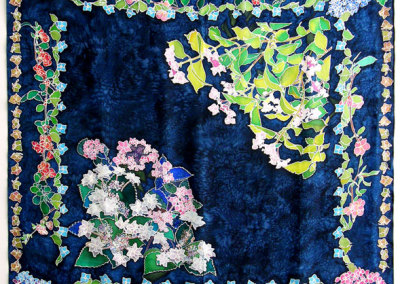 Hydrangea on Grey Background, 2009. Hand-hemmed 100% silk crepe du chin, $425.