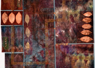 On The Road To Find Out, 2011. $1,975. 34h x 29w (inches). Hand-dyed cotton, acrylic paint, dehydrated leaves, polyester sheer, fibre glass screening, fresh water pearls, hand and machine embellishments.