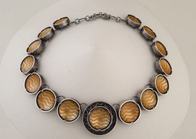 Melody Armstrong, Basse Taille Neckpiece, Wave, 2010 - sterling silver, etched copper, enamel, patina; etching, dapping, enamelling, soldering, tab setting