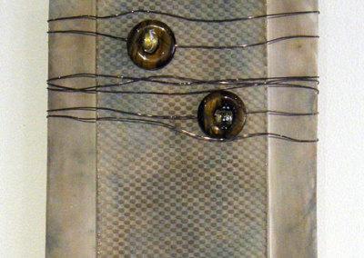 Susan Robertson, Topaz, Wall Jewel Series II: ∆6 stoneware, wire, beads; slab, hand built, pit fired. 2013, $195.