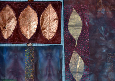 On The Road To Find Out, 2011. $1,975. 34h x 29w (inches). Hand-dyed cotton, acrylic paint, dehydrated leaves, polyester sheer, fibre glass screening, fresh water pearls, hand and machine embellishments (detail).