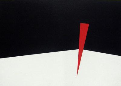 Hosaluk: Prairie Landscape (black, white, red) - 2013, Wood, acrylic. $1,200