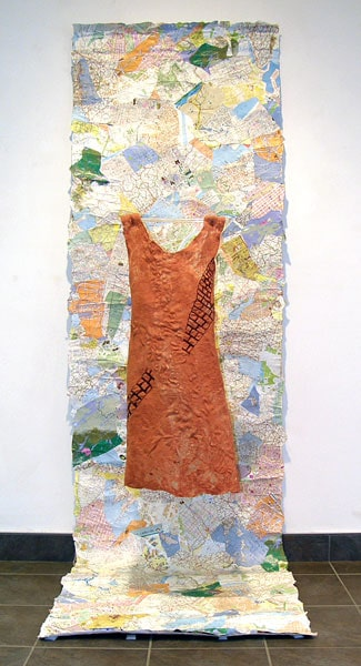 It is Not Always Obvious (with background), 2012: Wool, ribbon, thread, wire, acrylic medium, paper maps, canvas, wood; hand felted, machine embroidered - $1,000