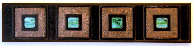 Hoard (detail): Louisa Ferguson, 2011 - Glass, copper, grout, wood; Copper enclusion, glass fusing, mosaic. NFS $300