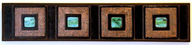 Hoard (detail): Louisa Ferguson, 2011 - Glass, copper, grout, wood; Copper enclusion, glass fusing, mosaic. NFS $300