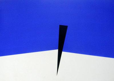 Hosaluk: Prairie Landscape (blue, white, black) - 2013, Wood, acrylic. $1,200