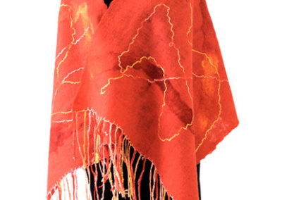 Flaming Red Shawl: June J. Jacobs, Dyed Merino Wool, Alpaca, Silk Yarn and Fibre