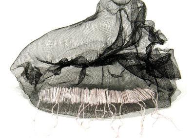 Leila J Olfert, She Sews Seashells: Window screen, embroidery floss, beads. 2012, $600.