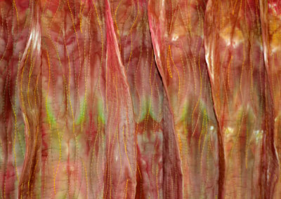 Miles From Nowhere, 2011. $2,840. 33h x 43w x 2d (inches). Hand-dyed cotton, machine quilted, hand-joined (detail).